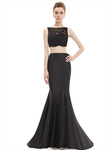 Black Mermaid Two Piece Lace Bodice Floor Length Prom Dress With Beading