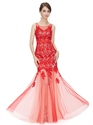 Red Mermaid Lace Top Tulle Bottom Square Neckline Prom Dresses