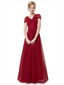 Burgundy V Neck Chiffon Floor-Length Bridesmaid Dresses With Twist Wrap