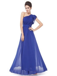 Royal Blue One Shoulder Pleated Bodice Chiffon Bridesmaid Dress