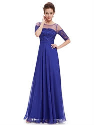 Royal Blue Summer Lace Bodice Bridesmaid Dresses With Half Sleeves