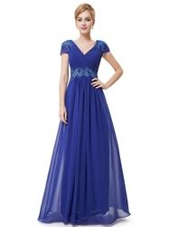 Royal Blue Cap Sleeve Chiffon Prom Dress With Applique Embellishment