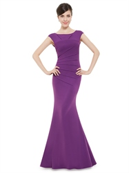 Elegant Violet Purple V Neck Mermaid Prom Dresses With Cap Sleeves