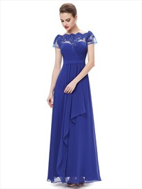Royal Blue Boat Neck Chiffon Appliqued Prom Dress With Front Cascade