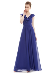 Royal Blue Ruffled Neckline Chiffon Floor Length Bridesmaid Dresses