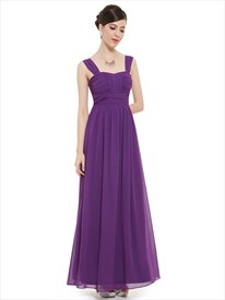 Purple Chiffon Ruched Bodice Floor Length Bridesmaid Dress With Straps