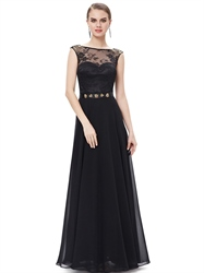 Black Chiffon Lace Bodice Cap Sleeves Prom Dress With Beaded Detail