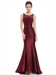 Burgundy Mermaid Sheer Illusion Neckline Prom Dress Lace Back Detail