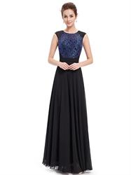Black Chiffon Sleeveless Illusion Neckline Prom Dress With Lace Bodice