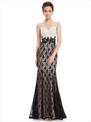 Champagne And Black Lace V Neck Mermaid Prom Dress With Applique Detail