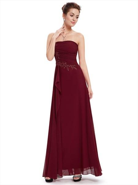 Burgundy Chiffon Strapless Bridesmaid Dresses With Applique Detail