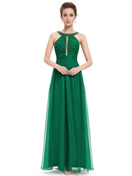 Green Lace Bodice Sleeveless Chiffon Prom Dress With Jewelled Neckline