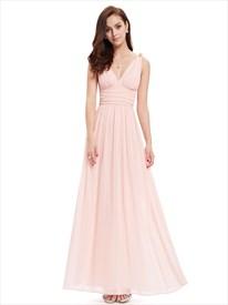 Elegant Light Pink V Neck Chiffon Bridesmaid Dress With Embellishment
