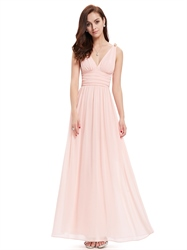Elegant Light Pink V Neck Chiffon Bridesmaid Dress With Embellishment