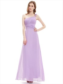 Lilac One Shoulder Flower Strap Chiffon Bridesmaid Dresses With Ruching