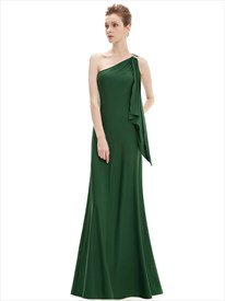 Emerald Green One Shoulder Chiffon Bridesmaid Dresses With Ruffles