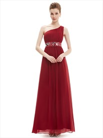 Burgundy One Shoulder Chiffon Bridesmaid Dresses With Sequin Trim