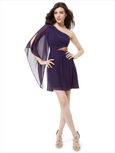 Purple One Shoulder Flutter Sleeves Cocktail Dress With Sequin Trim