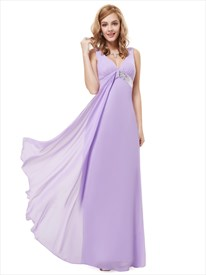 Lilac V Neck Empire Sleeveless Bridesmaid Dresses With Sequin Trims