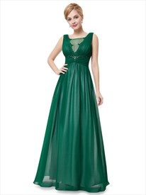 f0d066f0347 Emerald Green V Neck Chiffon Prom Dresses With Beaded Lace Applique ...