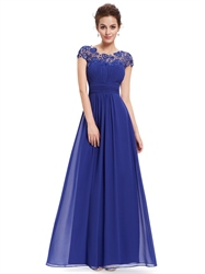Royal Blue Chiffon Evening Dress With Illusion Lace And Keyhole Back