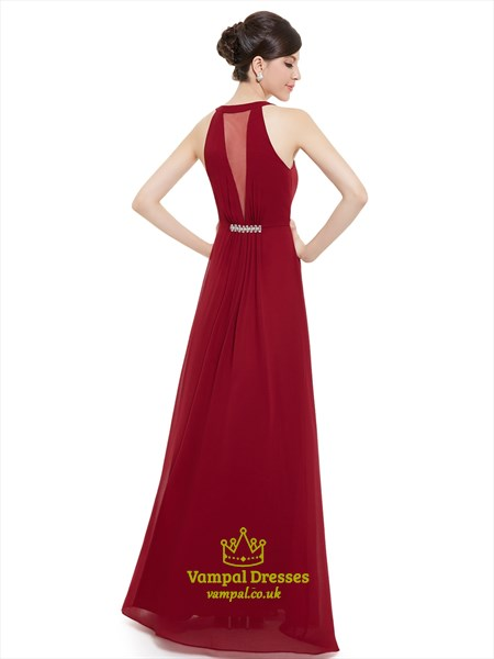 Burgundy Jewelled Neckline Chiffon Prom Dress With Beaded Detail