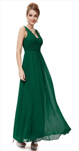 Emerald Green V Neck Sleeveless Chiffon Bridesmaid Dresses With Ruching