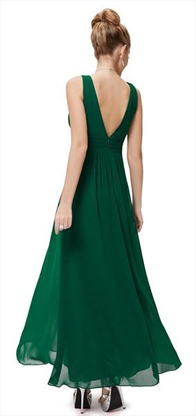 Emerald Green V Neck Sleeveless Chiffon Bridesmaid Dresses With Ruching