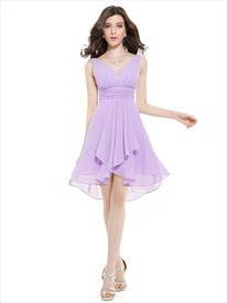 Lilac V-Neck Sleeveless Knee-Length Chiffon Bridesmaid Dresses