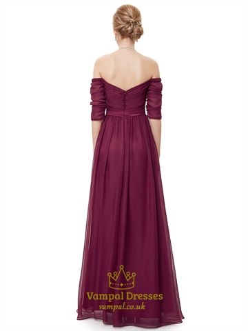 Burgundy Off The Shoulder Chiffon Ruched Prom Dress With Half Sleeves