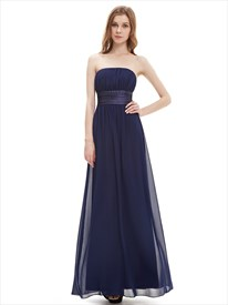 Navy Blue Strapless Floor Length Chiffon Bridesmaid Dress With Sash
