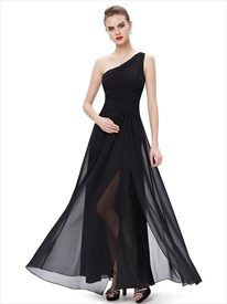 Black Chiffon One Shoulder Floor-Length Bridesmaid Dresses With Split