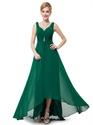 Emerald Green V Neck Chiffon Bridesmaid Dresses With Beaded Detail
