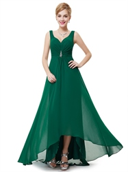Emerald Green V Neck Chiffon Bridesmaid Dresses With Beaded Detail