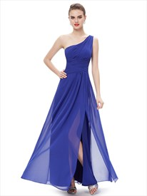 Royal Blue Chiffon One Shoulder Bridesmaid Dresses With Side Split