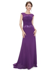 Purple Sheath Chiffon Cap Sleeves Prom Dress With Floral Applique