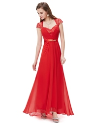 Red Long Chiffon Sequin Embellished Prom Dress With Beaded Detail