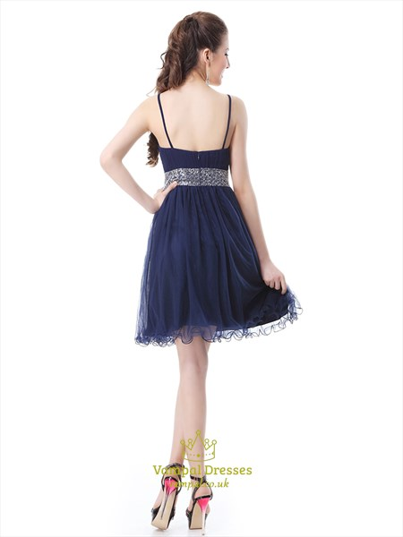 Navy Blue Homecoming Dress With Beaded Waist And Spaghetti Straps