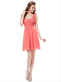 Coral Chiffon One Shoulder Short Bridesmaid Dress With Petal Detail