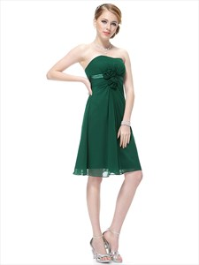 Emerald Green Bridesmaid Dress With Empire Waist And Floral Detail