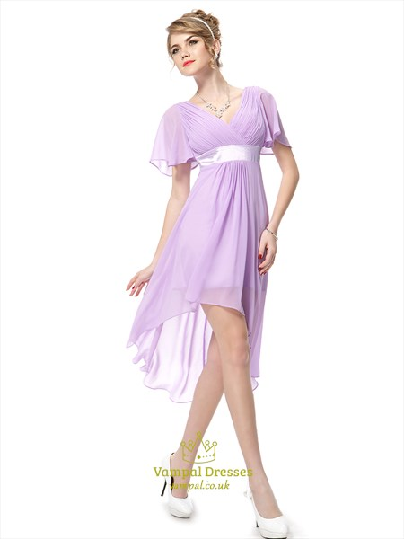 Lilac Chiffon V-Neck High Low Bridesmaid Dresses With Flutter Sleeves