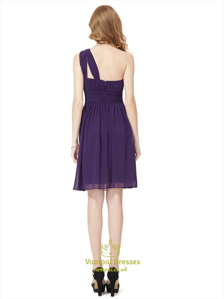 Grape Chiffon One Shoulder Knee Length Bridesmaid Dresses With Ruching