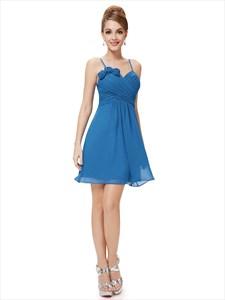 Blue Chiffon Spaghetti Strap Short Bridesmaid Dresses With Flower Detail