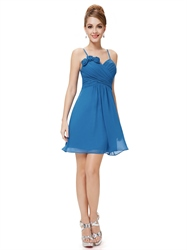 Blue Chiffon Spaghetti Strap Short Bridesmaid Dresses With Flower Detail