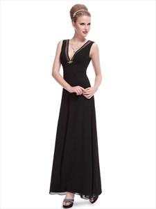 Black Chiffon V-Neck Empire Waist Bridesmaid Dress With Beaded Detail