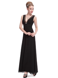 Black Chiffon V-Neck Empire Waist Bridesmaid Dress With Beaded Detail