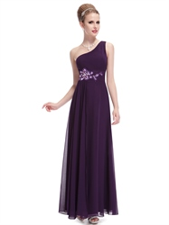 Grape One Shoulder Chiffon Bridesmaid Dresses With Floral Appliques