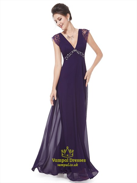 Purple V Neck Lace Cap Sleeves Chiffon Prom Dress With Beaded Detail