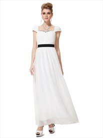 Ivory Chiffon Cap Sleeves Beaded Bridesmaid Dress With Black Sash