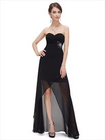 Black Chiffon Sweetheart High Low Bridesmaid Dresses With Beaded Detail